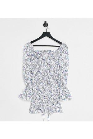 Parisian Bodycon-kjole i blomstermønster med bindebånd foran-Blå