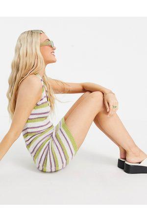 ASOS Strikket minikjole med halterneck i multifarvede striber
