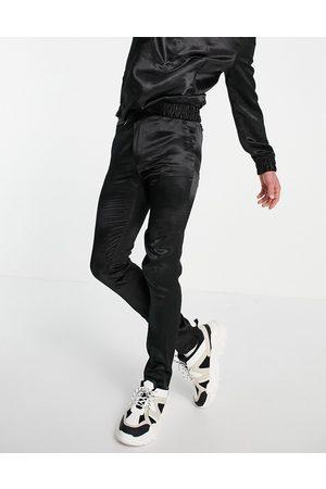 ASOS Elegante skinny-bukser i satin med løbesnor i taljen - Del af sæt
