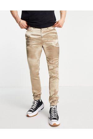 ASOS DESIGN Mænd Slim bukser - Elegante skinny joggingbukser i satin med stramme buksekanter - Del af sæt-Neutral