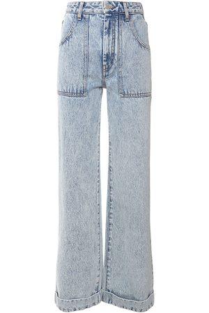 Alessandra Rich High Waist Cotton Denim Straight Jeans