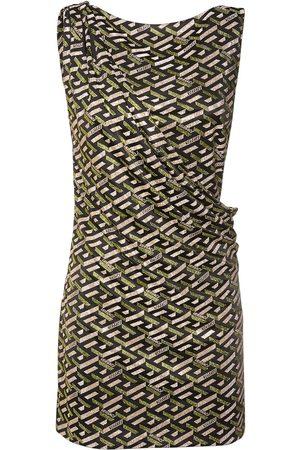 VERSACE Monogram Printed Jersey Mini Dress