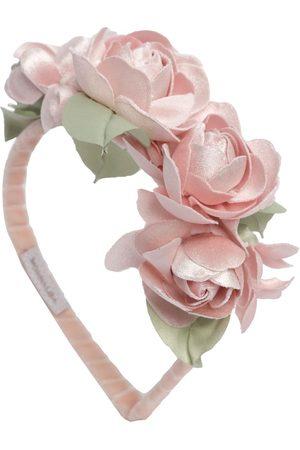 MONNALISA Velvet Headband W/ Flower Appliqués
