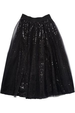 MONNALISA Sequined & Tulle Long Skirt