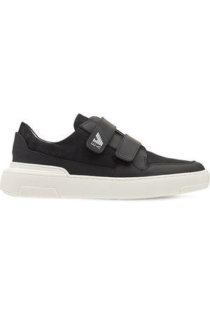 Emporio Armani Logo Print Leather Strap Sneakers