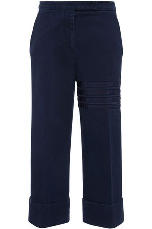 Thom Browne Cotton Twill Grosgrain Bars Crop Pants