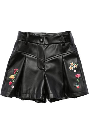 MONNALISA Embroidered Faux Leather Shorts