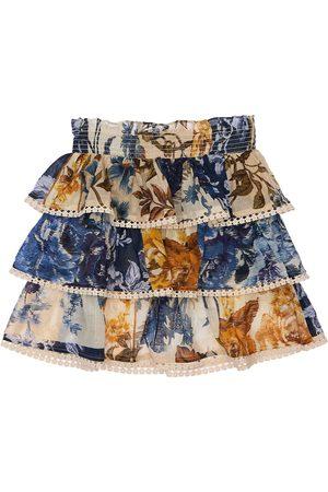 ZIMMERMANN Flower Print Layered Cotton Skirt
