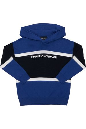 EMPORIO ARMANI Hooded Cotton & Wool Knit Sweater