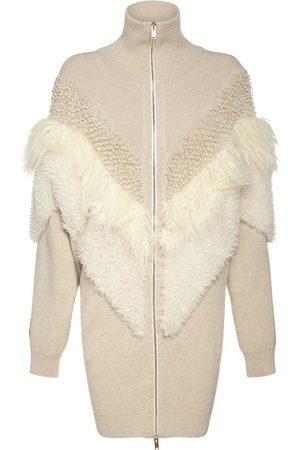 Stella McCartney Kvinder Strik - Faux Fur Wool Knit Zip-up Coat