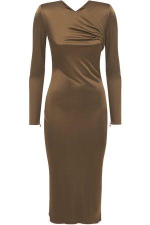 VERSACE Draped Jersey Midi Dress