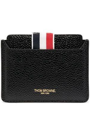 Thom Browne Grosgrain-kortholder i læder med spejldetalje og burrelukning