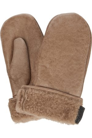 Brunello Cucinelli Shearling-trimmed leather gloves