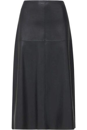 Max Mara High Waist Faux Leather Midi Skirt