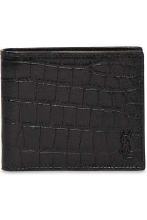 SAINT LAURENT Ysl Croc Embossed Leather Wallet