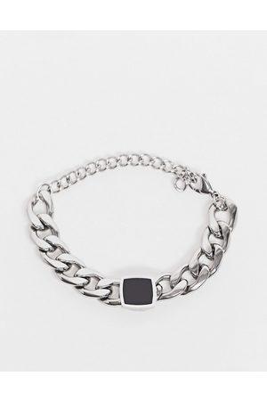 Icon Brand Armbånd i sølvfarvet rustfrit stål i sort emalje