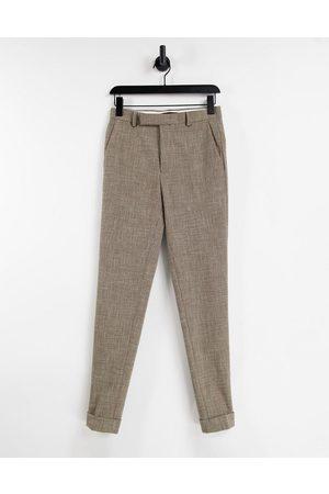 ASOS DESIGN Elegante super skinny-bukser i med dobbeltskraveret design-Neutral