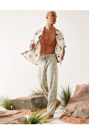ASOS Grønne ternede hørblandede bukser med vidde