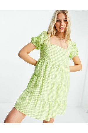 Influence Strandkjole i grønne gingham-tern