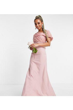 Missguided Brudepiger - Blush bandeau-kjole med organzadetalje-Lyserød