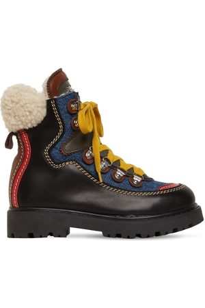 Dsquared2 Denim & Leather Snow Boots