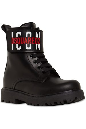 DSQUARED2 Icon Print Leather Combat Boots