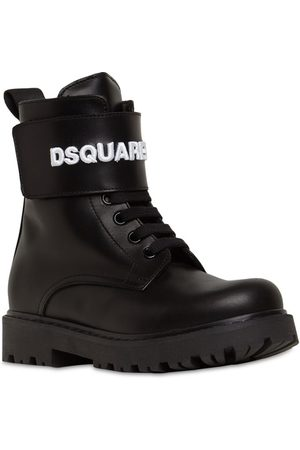 DSQUARED2 Embroidered Logo Leather Combat Boots