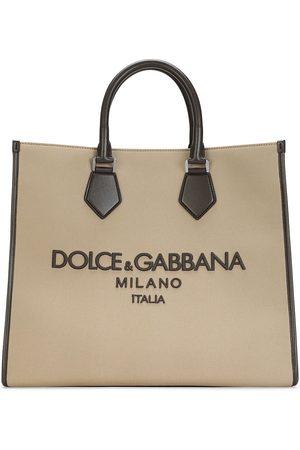 Dolce & Gabbana Tote i kanvas med broderet logo