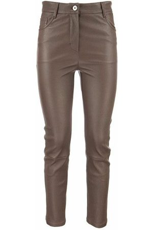 Brunello Cucinelli Stretch nappa slim trousers with shiny tab
