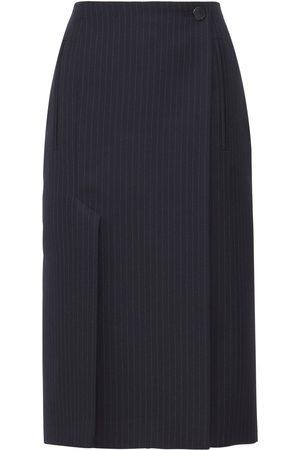 PRADA Pinstripe Wool Flannel Pencil Midi Skirt