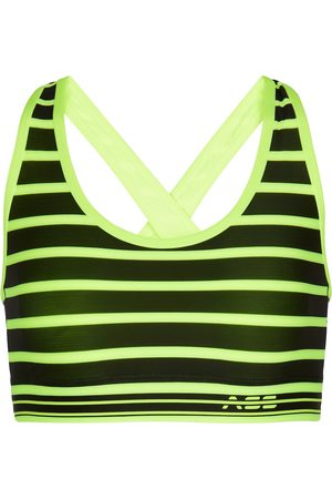 Adam Selman Sport Kvinder Sports-BH - Striped cross-back sports bra