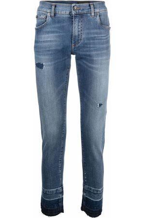 Dolce & Gabbana Mænd Slim - Jeans med smal pasform og slitageeffekt