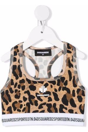 Dsquared2 Kids Cropped tanktop med leopardmønster