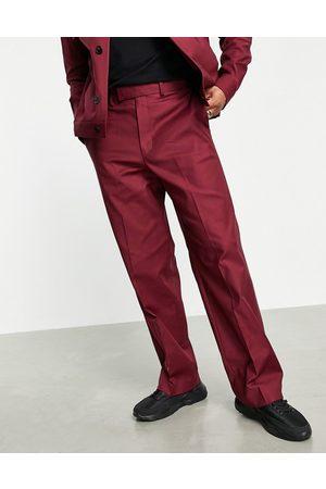 ASOS Bordeaux elegante bukser med vidde - Del af sæt