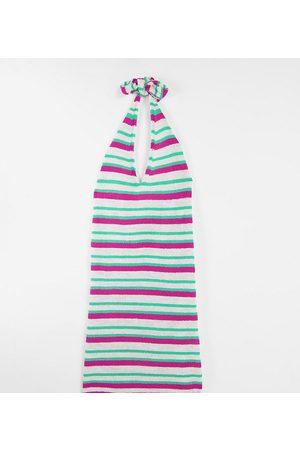 ASOS Maternity ASOS DESIGN Maternity - Strikket minikjole med halterneck og multifarvede striber