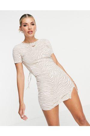 Motel Bodycon-kjole med åben ryg i tonal zebra-Neutral