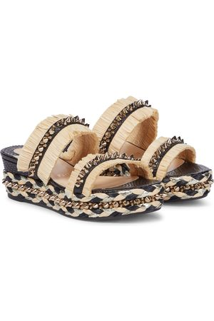 Christian Louboutin Embellished raffia wedge sandals