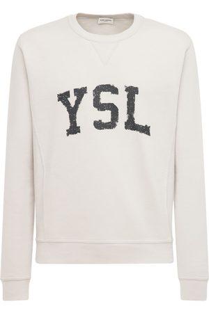 SAINT LAURENT Mænd Sweatshirts - Logo Print Cotton Sweatshirt