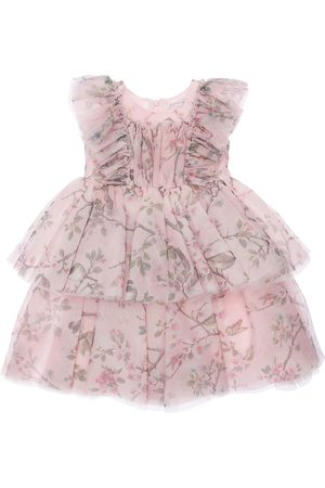 MONNALISA Floral Print Layered Tulle Party Dress