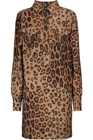 Etro Leopard-print stretch-wool minidress