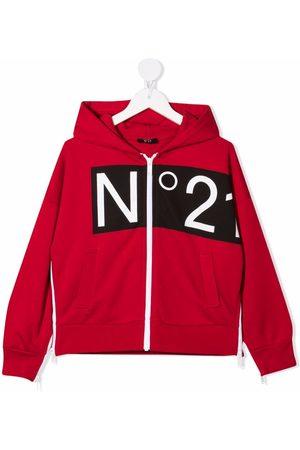 Nº21 Hættetrøje med logotryk og lynlåslukning