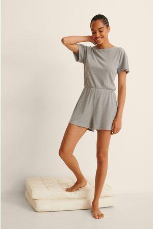 NA-KD Kvinder Pyjamas - Blød Ribbet Playsuit-Pyjamas I Genanvendt Materiale