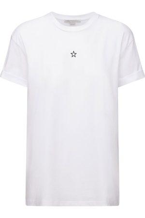 Stella McCartney Kvinder Kortærmede - Star Embroidered Cotton Jersey T-shirt