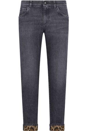 Dolce & Gabbana Mænd Slim - Jeans med smal pasform og leopardkant