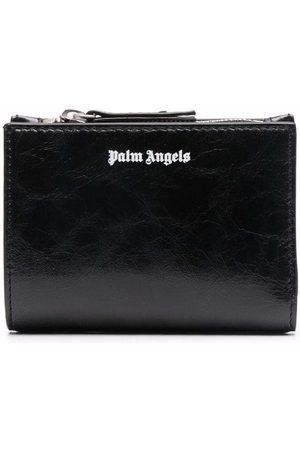 Palm Angels Mænd Punge - CRINKLE LEATHER ZIP WALLET BLACK WHITE