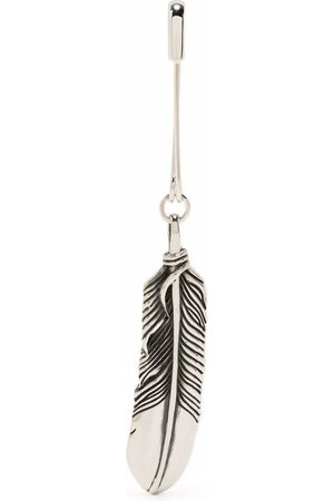 AMBUSH Mænd Øreringe - FEATHER CHARM WITH SAFETY PIN SILVER NO