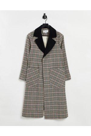 Helene Berman Long Ruth - Multifarvet dobbeltsidet frakke med tern