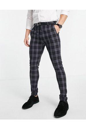 ASOS DESIGN Mænd Habitbukser - Super Skinny-habitbukser i koksgrå Oxfordtern