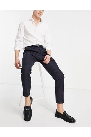 MOSS BROS Moss London - Slim Fit-habitbukser i ternet marineblå