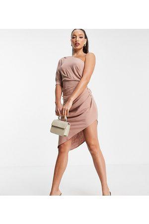 ASOS Kvinder Festkjoler - ASOS DESIGN Tall - Oneshoulder minikjole med plisseret detalje i nederdelen i hør-Lyserød